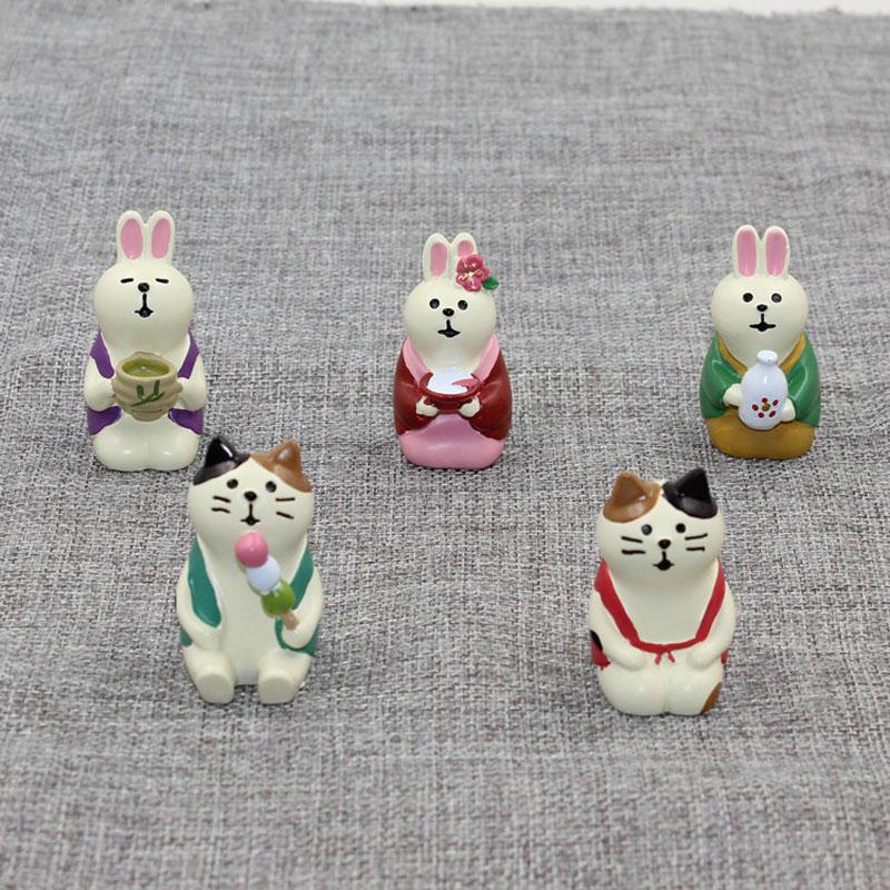 Figurines de style zakka, lapin Miniature Kawaii, décorations de déco, Figurines de jardin en résine, joli contraste, chat porte-bonheur