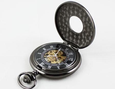 New Lace Dress Pocket Watch Gun color Mechanical Mens