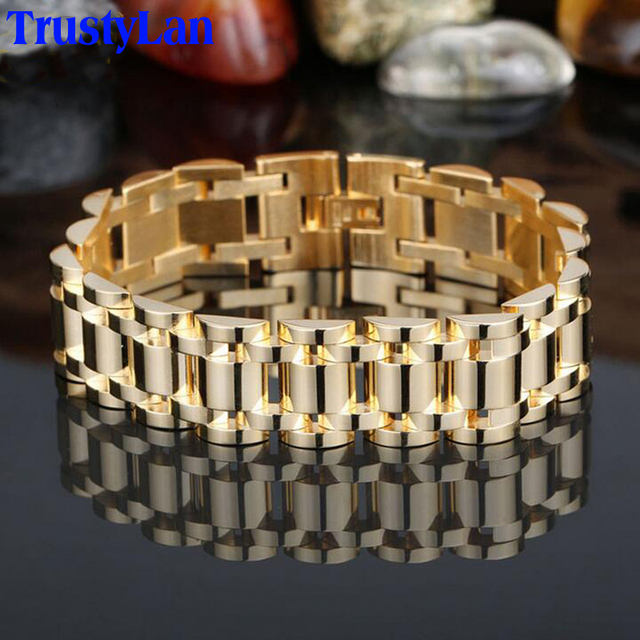 TrustyLan Golden Bracelet Men Aliexpress Luxury Best Friends Men Jewelry Bracelet Mens Chain Bracelets Bangles Stainless Steel