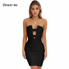 Dower me Night Club Summer Dresses Sleeveless Sexy Above Knee Length Straight White Black Red Fashion Strapless Party dress Y023