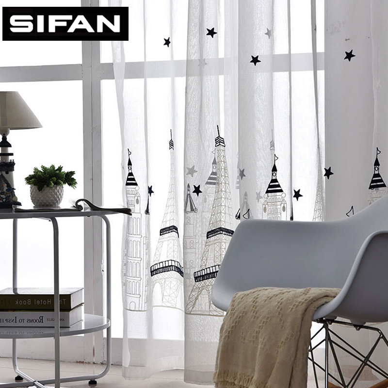 European castle Eiffel Tower Embroidered White Voile Curtains for the  Bedroom Living Room Sheer Tulle Window. Online Buy Wholesale bedroom curtains with eiffel tower from China