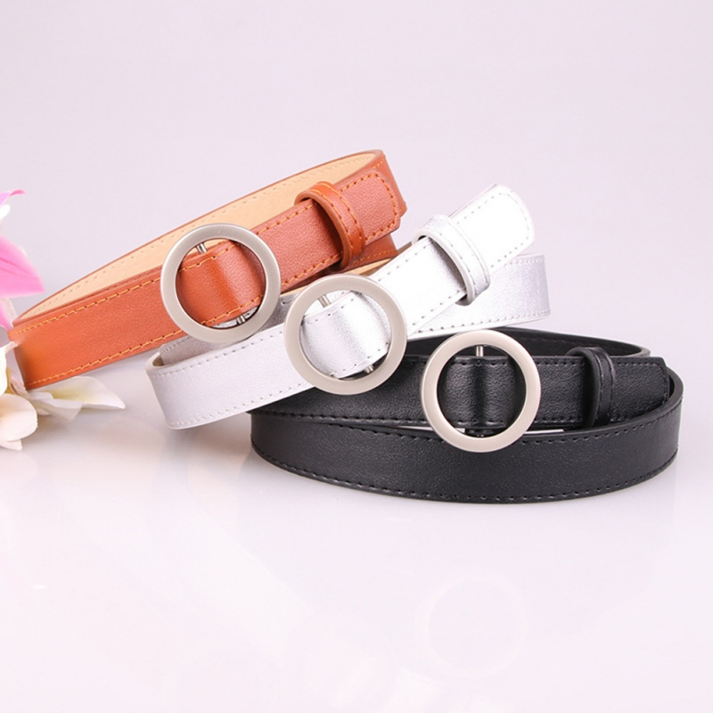 Female Deduction Vintage Metal Buckle Leather   Belts   Fashion Simple New Circle Pin Buckles Waistband Colorful Accessories