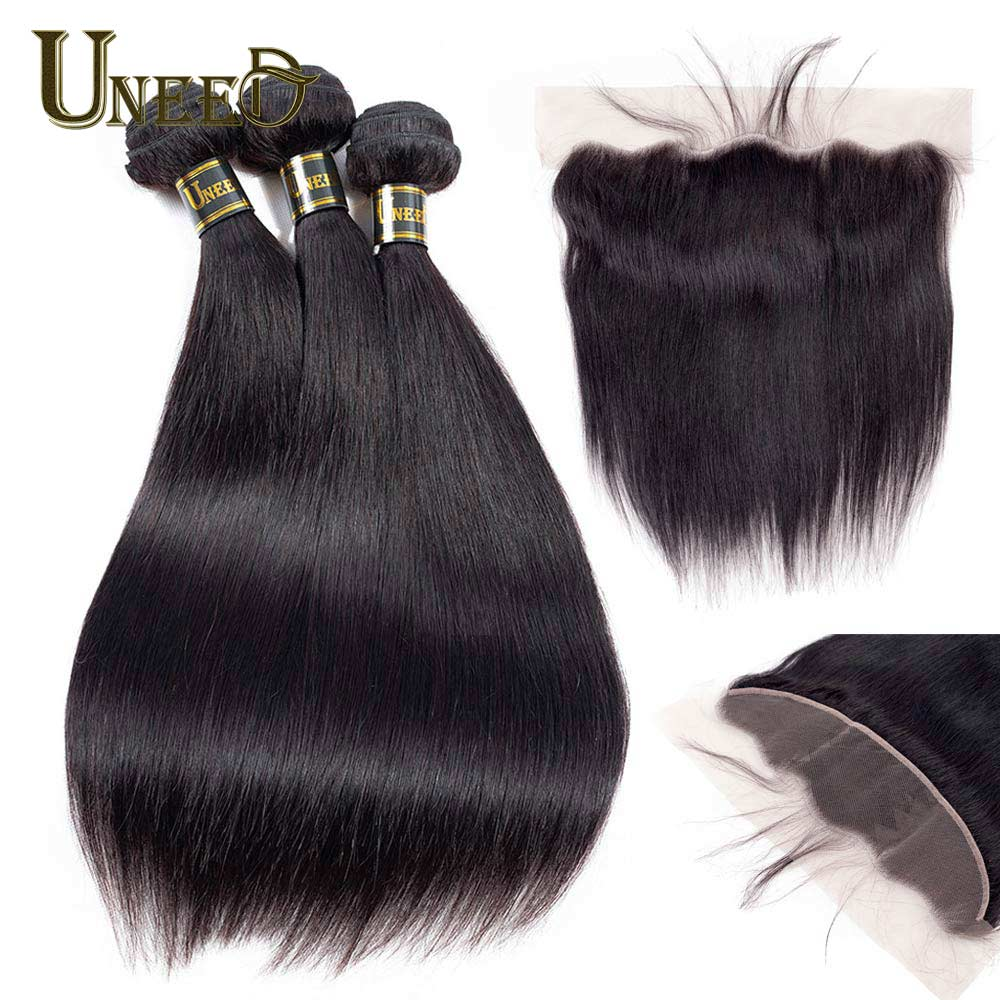 Uneed 13x4 Frontal With Bundles Brazilian Straight Hair ...