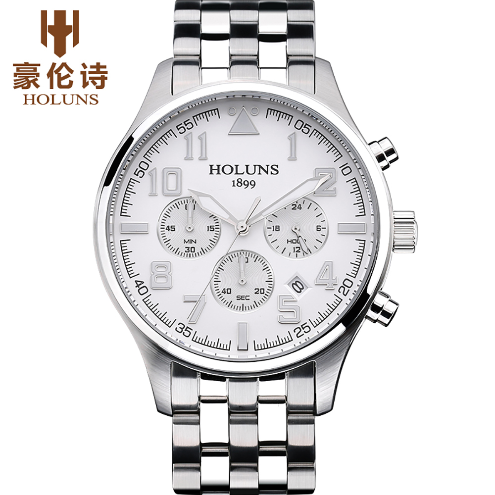 HOLUNS hommes en acier inoxydable étanche montres marque de luxe mode Quartz affaires Sport montre-bracelet classique Relogio Masculino
