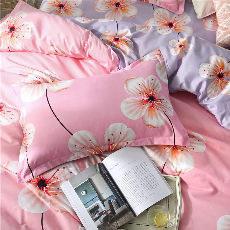 Solstice Home Textile Girl Bedding Set Pink Flower Duvet Cover Pillowcase Bed Sheet King Queen Twin Linen Kid Teen Bed Cover Set