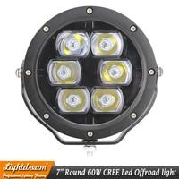 60W 4x4 led spotlights 12V 24V 7 inch 60W Round led work driving lights IP67 Waterproof 4x4 led off road lights headlights x1pc