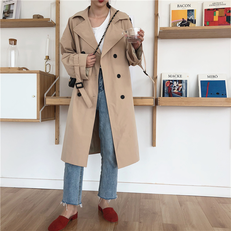 Fashion Women Double Breasted Mid-long   Trench   Coat with Belts 2019 Famous oversized fall Winter Windbreak Outwear