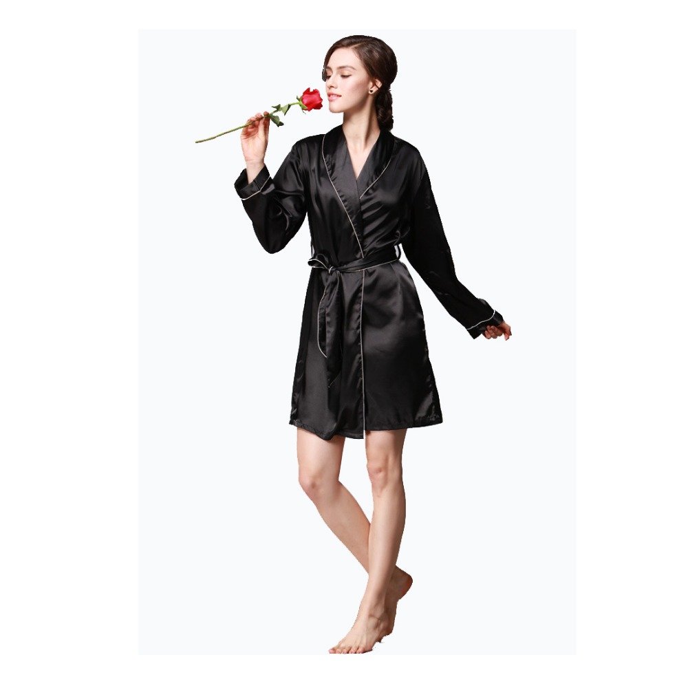 Lingerie Women Sexy Long Sleeve Robe Nightwear Silk Robe Ladies Turn-Down Collar Sleepwe ...