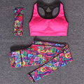 Женщины Спорт Yoga Set Для Тренажерный Зал Работает Спортивный Костюм Эластичность Фитнес Одежда Тренировки Спортивная Одежда Спортивный Бюстгальтер + Печать Брюки + лента для волос