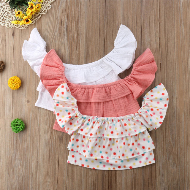 75cd744c7cd Toddler Kid Girls Summer Layered Tops Fashion Baby Girl Off-shoulder Dot  Wrapped Chest Tops