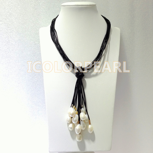 48+13CM Multistrand Black Leather Necklace With White Waterdrop Natural Freshwater Pearls.