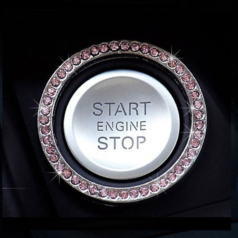 Car Decoration Stickers Crystal Diamond One-button Start Ring Rhinestones Circle Engine Start Stop Ring For Mercedes BMW Audi