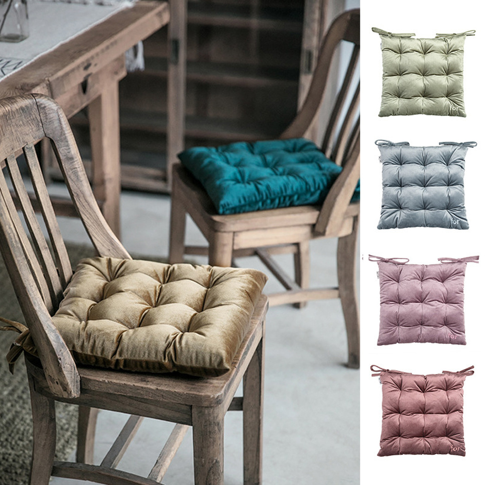 Luxury Velvet Chair Seat Pads With Ties Square Thick Cushion Pearl Cotton Filling For Dining Living Room Office Chair 38x38cm