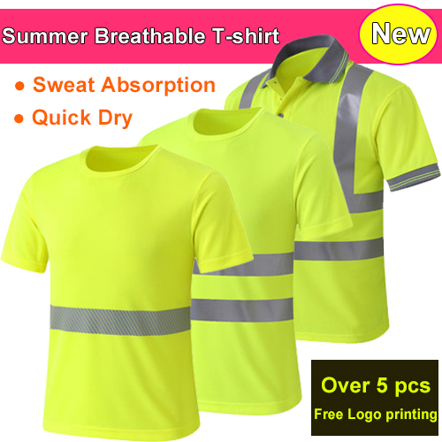 High visibility safety reflective t shirt reflective polo for Safety logo t shirts