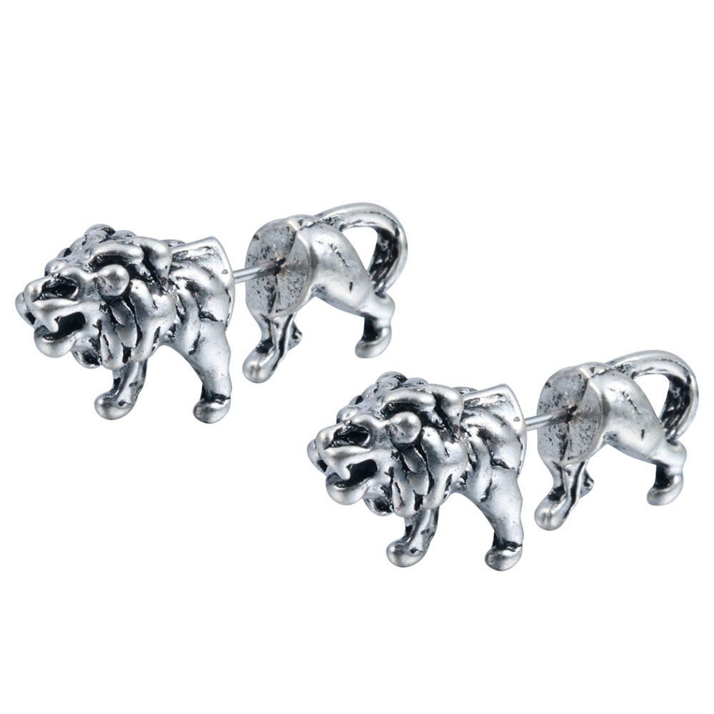 QIMING One Pair Fantastic Jewelry Realistic Lion Studs Animal Studs Two parts earrings f ...