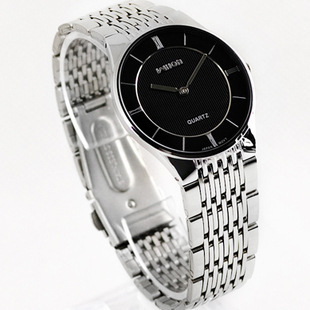 HK Brand Good Quality Slim Two-pin Fashion Casual Men's Watch Lovers Full Stainless Steel Watch Men Women Dress Watch