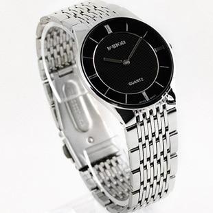 HK Brand Good Quality Slim Two-pin Fashion Casual Men's Watch Lovers Full Stainless Steel Watch Men Women Dress Watch