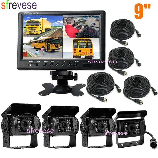 """4X 4Pin 18 LED IR Night Vision Reversing ที่จอดรถสำรองกล้อง + 9 """"LCD 4CH แยกสำหรับรถบัสรถบรรทุก Motorhome 12V 24V"""