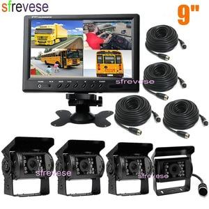 """Image 1 - 4x 4pin 18 led ir visão noturna invertendo estacionamento backup câmera + 9 """"lcd 4ch split monitor para ônibus caminhão motorhome 12 v 24 v"""