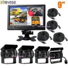 Caméra de sauvegarde de stationnement inversée, 4 broches, 18 LED IR, écran LCD de 9 pouces, moniteur fendu pour Bus, camion, camping car, 12V 24V