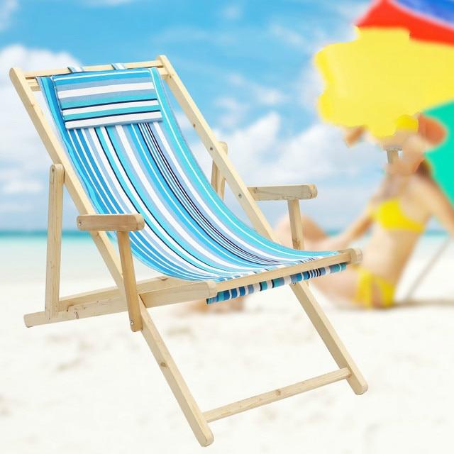Simple Foldable Portable Beach Chair Solid Canvas Oak Wooden Lounge Soft Leisure Reclining Sunbathe Cadeira