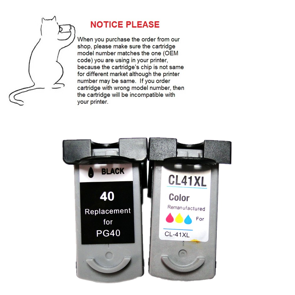 1set Remanufactured ink cartridge PG40 CL41 PG-40 CL-41 for Canon PIXMA IP2500 IP2600 MX300 MX310 MP160 MP140 MP150 MP160 MP170 3x remanufactured ink cartridge pg40 cl41 pg 40 cl 41 for canon pixma ip1700 ip1800 ip1900 mp470 mp450 inkjet printer