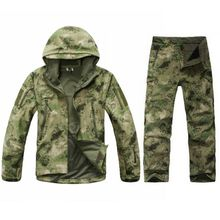 Sharkskin Men Tactical Sets Army Military Hunting Suits Outdoor Waterproof Windproof Jacket Or Pants Climbing Hiking Clothes цена