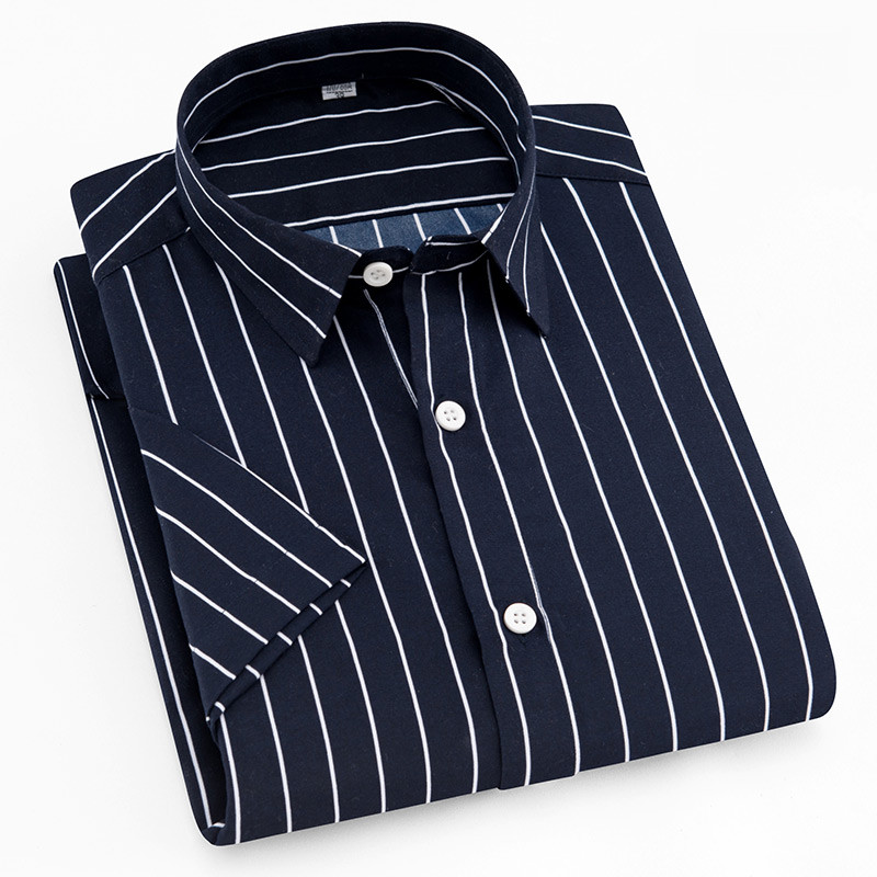 Summer New Turn Down Collar Short Sleeve Striped Men Casual Shirts Soft Comfortable Male Clothes Without Chest Pocket