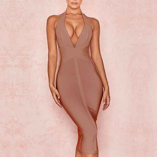 High Quality Pink V-neck Backless Bodycon Rayon Bandage Dress Sexy Club Party Dress