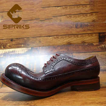 Sipriks Luxury Burgundy Italy Calf Leather Sewing Welted Shoes Mens Classic Vintage Brogue Shoe Wingtip Dress Gents Suit 44 45