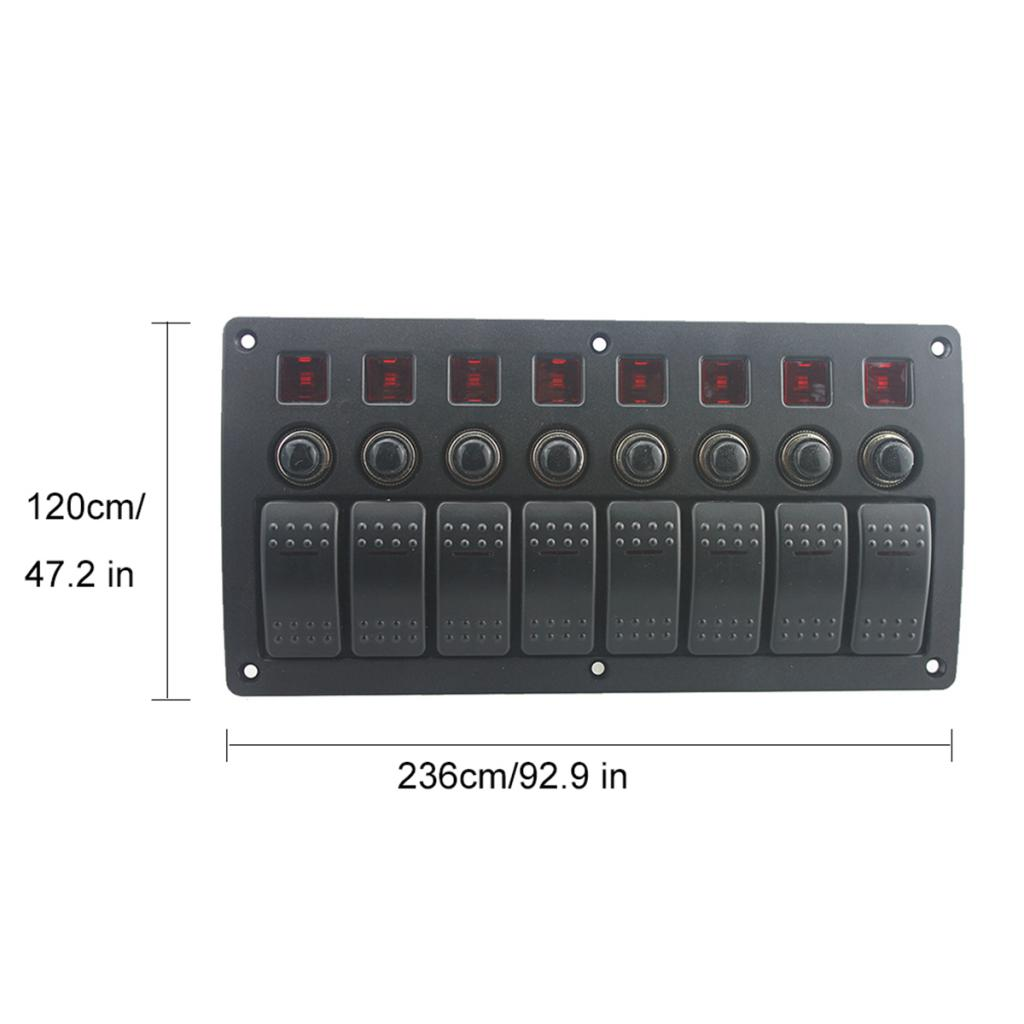 Marine Electric 8 Gang Red LED ON-OFF Rock Switch Panel for Boat RVs Good design perfect for Machine