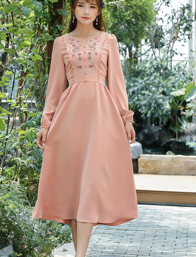 Free Shipping HIgh Quality Fashion V Collar Flower Embroidery Lantern Sleeve Woman Long Cotton Dress Orange
