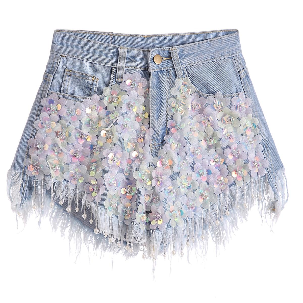 Nappa Denim Nuovo Donna Strass Vita Ed In Paillettes Jeans A Shorts Blue Rilievo blue Heavy 2 Primavera 3 Size A B white Fiore Estate 4 Di 1 5 A 6 Moda Alta blue T6vqTwEx