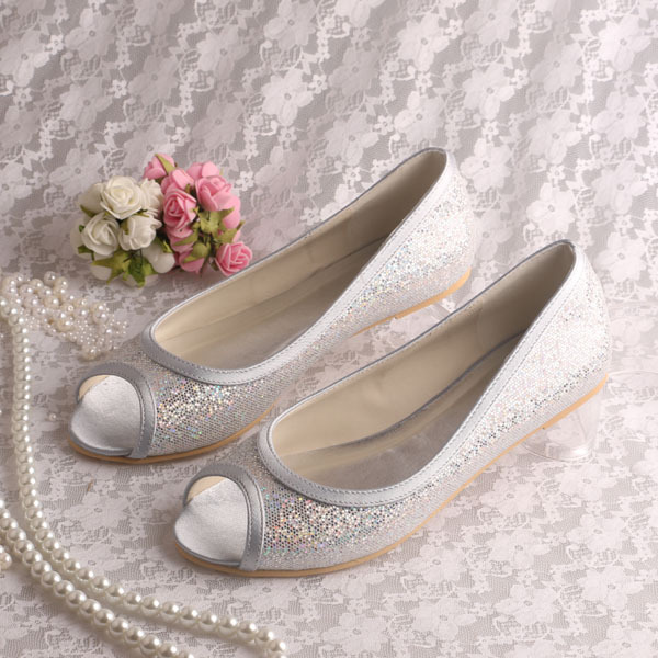 Wedopus Customized Service Silver Glitter Bridal Ballet