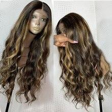 Ombre point culminant brun blond couleur de cheveux humains perruques profonde 360 dentelle frontale perruque pré plumé avec bébé cheveux vague de corps Remy Atina