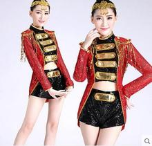 2016 new summer 5XL jazz dance sequins tassel high collar modern dance costume stage fitted female fashion performance suits