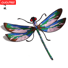 GUGUTREE embroidery patches dragonfly big badges for jackets