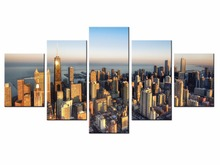 Hot Sales Framed 5 Panels Picture City HD night scene series  Canvas Print Painting Artwork Wall Art painting Wholesale
