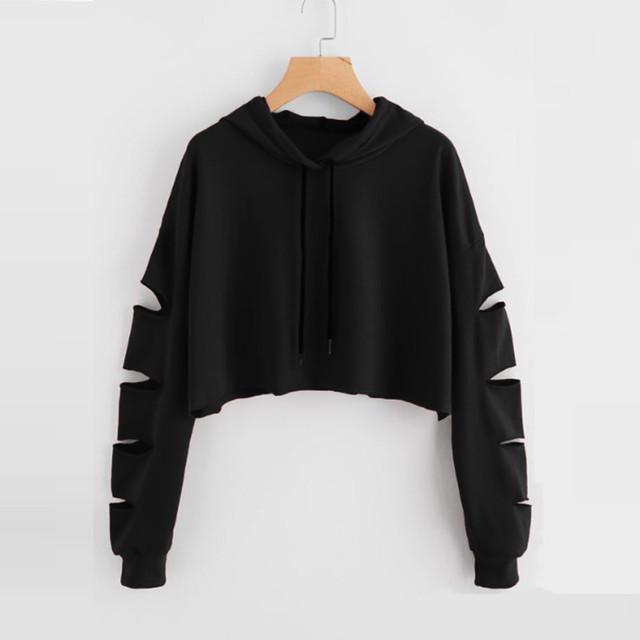 NEW Hoodies Sweatshirt Female Harajuku Long Sleeve Cold Shoulder Sweatshirts Streetwear hip hop Jumper Hooded Clothes Moletom