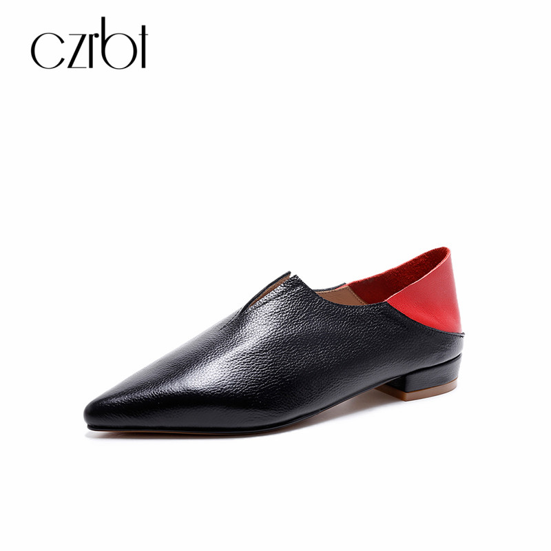 CZRBT Genuine Leather Women Shoes Spring Autumn Pointed Toe Loafers Flat Heel Shoes Soft Cow Leather Comfortable Flats For Women cow leather round toe flats plain loafers genuine leather women shoes wedge heels platform spring autumn shoes sizes 22cm 24 5cm