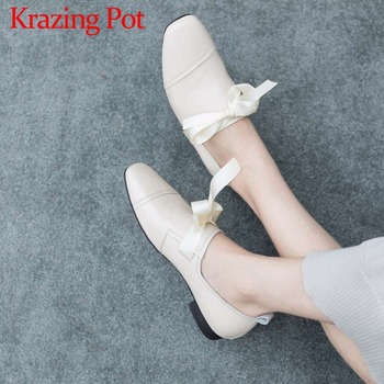 Casual shoes genuine leather riband sweet butterfly-knot slip on low heels concise design high fashion solid female pumps L6f1