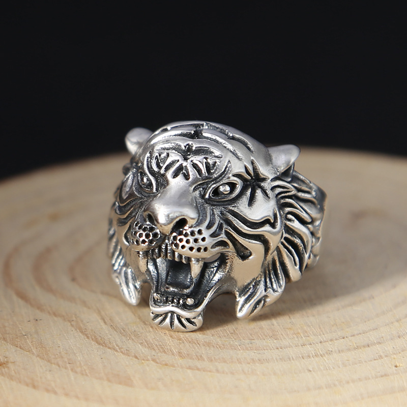925 Sterling Silver Retro Roar Asia White Tiger Open Ring Men Thai Silver Animal Adjustable Finger Ring ZY297-1 titan asia silver 95 а ч пр