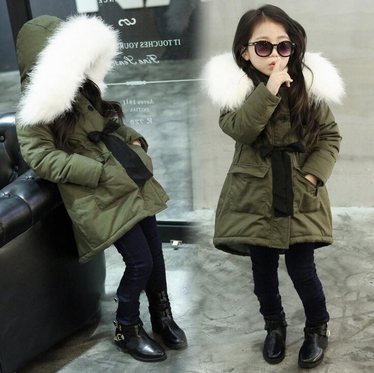 Kış Ceketler Kız Pamuk Kapüşonlu Kürk Yaka ceket Çocuk Ceket sıcak Çocuk Kalın Giyim Kabanlar Sıcak Tops Çocuklar Parka W77