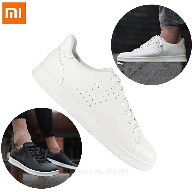 Xiaomi Mija gratuit cravate loisirs chaussures en cuir véritable antidérapant à la mode confortable respirant Smart Sport chaussures pour homme femme