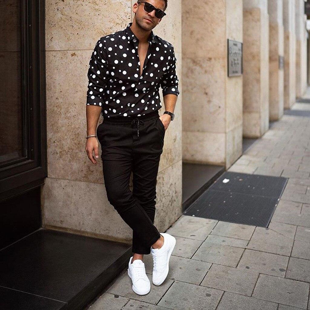 Men Shirt Streetwear Shirt Men's Fashion Loose Casual Long-sleeved Polka Dot Printed Shirt Top Blouse Free Shipping D4