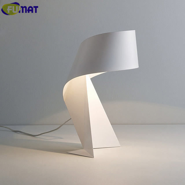 FUMAT Iron Table Lamps Bedroom Bedside Table Light Modern Living Room Study  Desk Lamps Black White
