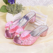 Girls Summer Sandals Sequined Chaussure Fille Princesse Children High Heel Party Dress Shoes Leather Slipper For Kids Slides