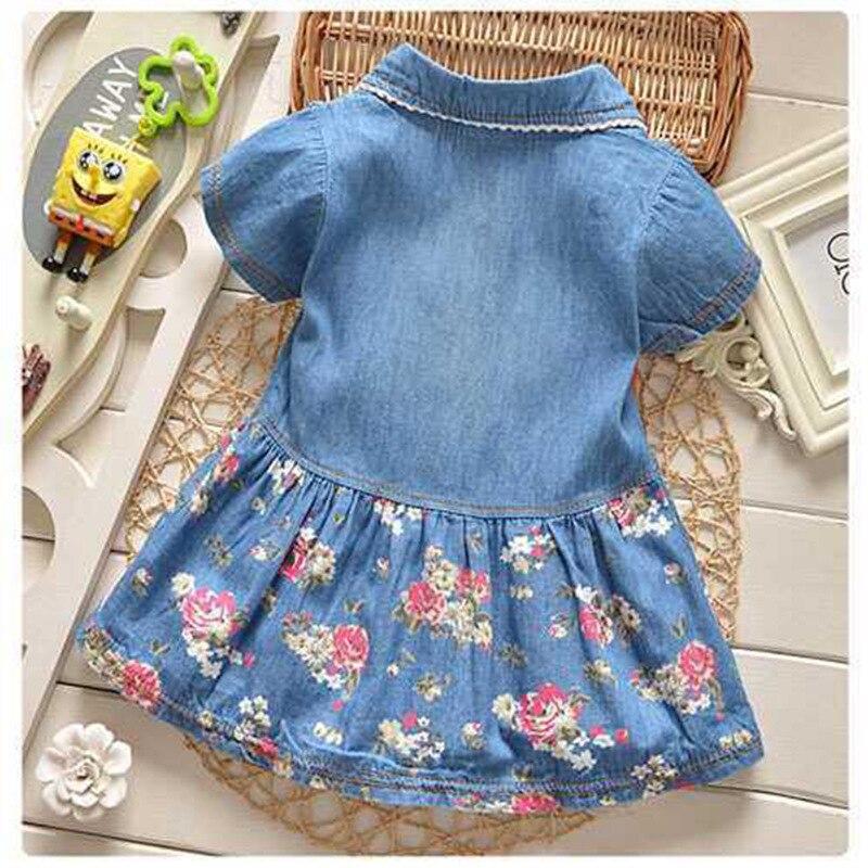 dd0d80b11ee6 BibiCola New summer Dirls Dress Baby Girls Denim Dress Floral Bow ...