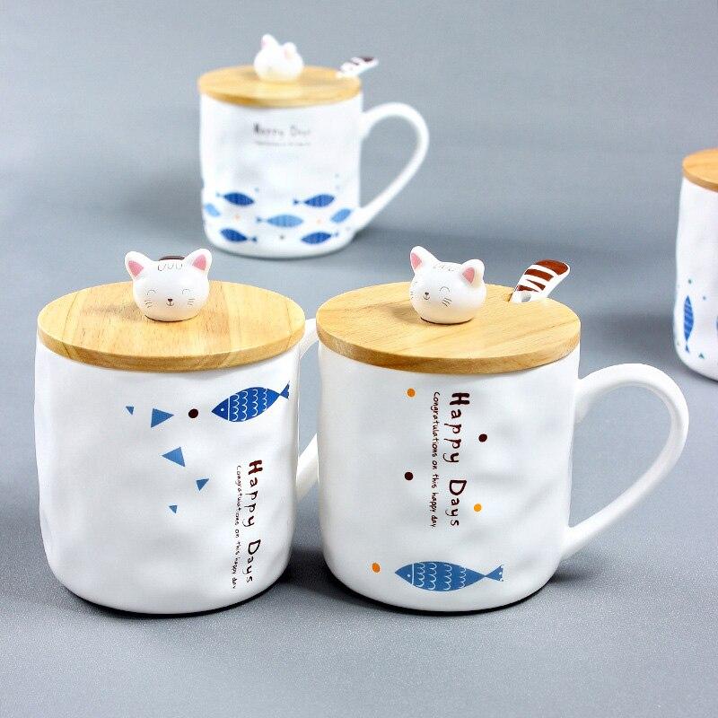 UPSPIRIT 350mL Ceramic Cute Fish Mug with 3D Cat Lid and Spoon Coffee Milk Tea Water Drinkware Creative Personalized Funny Gift