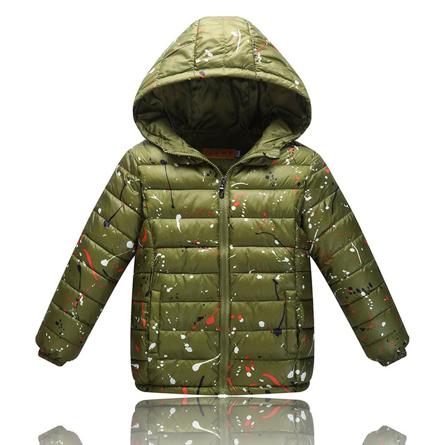 Pato Abajo Chaqueta de Los Muchachos 2016 Nueva Moda de Ultra Luz Niños abajo de la Capa de Impresión Niños Abajo y Abrigos Esquimales Chaqueta de Invierno para niñas